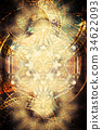 Light merkaba and zodiac and abstract background 34622093