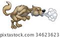 Cartoon Three Little Pigs Big Bad Wolf Blowing 34623623