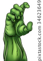 Zombie Monster Halloween Hand 34623649
