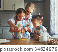 mother and children twins   bake kneading dough 34624979