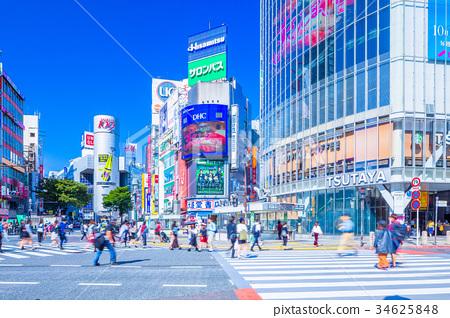 도쿄 시부야 스크램블 교차로의 풍경 34625848