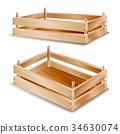 Wooden Box Vector. Empty Wooden Crate. Empty Fruit 34630074