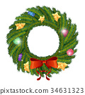Vector Green Christmas wreath with 34631323