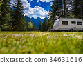 Family vacation travel, holiday trip in motorhome 34631616