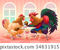 Hen and rooster in a cafe 34631915