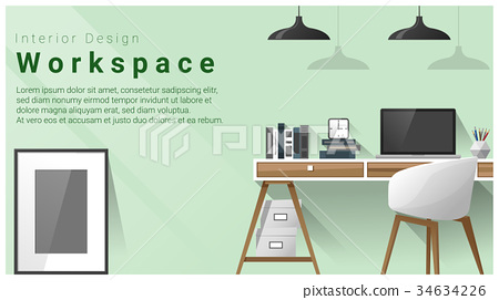 Interior Design With Modern Workplace Background Stock