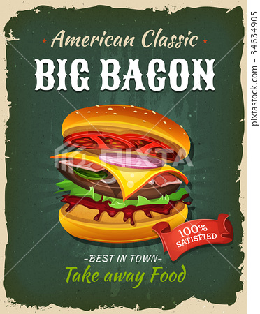 Retro Fast Food Bacon Burger Poster 34634905