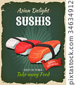Retro Japanese Sushis Poster 34634912