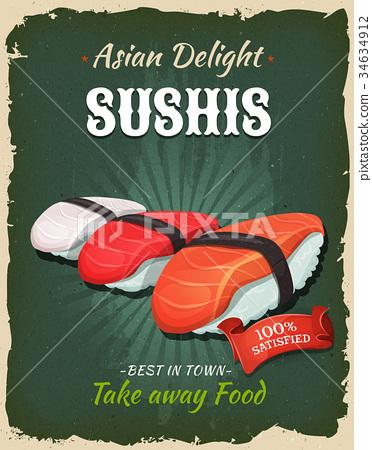 Retro Japanese Sushis Poster 34634912