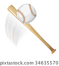 Baseball Bat Hitting Ball 34635570
