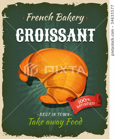 Retro French Croissant Poster 34635577