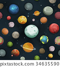 Seamless Planets And Asteroid Background 34635590