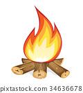 Burning Bonfire With Wood 34636678