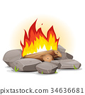 Campfire With Burning Flames 34636681