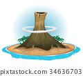 Volcano On Desert Island 34636703