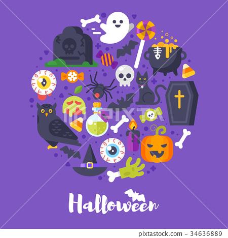 round composition of Halloween symbols 34636889