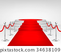Realistic vector red event carpet, silver barriers 34638109