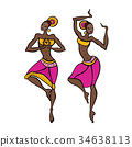 Dancing woman in ethnic style. 34638113