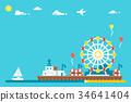 Flat design Santa Monica pier 34641404