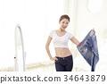 다이어트, 젊은여자, 청바지 34643879