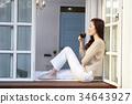 생각, 창, 커피 34643927
