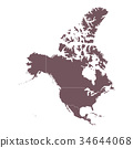 Detailed Map of North America continent 34644068