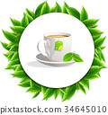 leaves tea cup  backgrounds 34645010