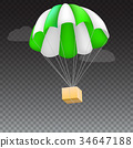 Icon of package flying on green parachute 34647188
