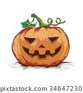 Halloween Pumpkin in Hand Drawn style, Vector 34647230