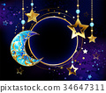 Round banner with jewelry crescent moon 34647311