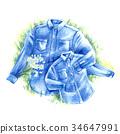 襯衫 牛仔布 使用蠟筆作的畫 34647991