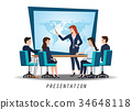 Business woman presenting world business 34648118