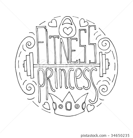 fitness princess hand drawn circle 34650235