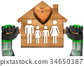 Model House with Family and Heart 34650387