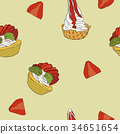 strawberry cheese cake, hand draw sketch vector. 34651654