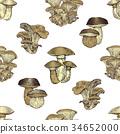 mushroom, vector, seamless 34652000