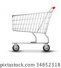 Shopping cart isolated on white background. flat 34652318
