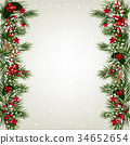 Christmas background with fir and snowflakes 34652654