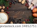 Christmas baking ingredients, top view, copy space 34652751