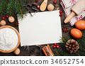 Christmas baking ingredients, top view, copy space 34652754