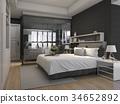 bed, bedroom, interior 34652892