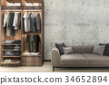 minimal loft sofa with wood walk in closet  34652894
