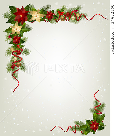 Christmas Garland With Fir Branches Stock Illustration 34652900