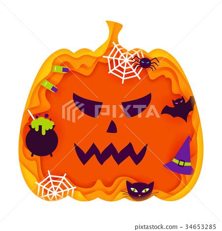 Halloween Pumpkin Papercut Concept 34653285
