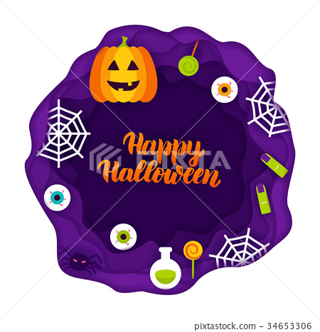 Happy Halloween Papercut Concept 34653306