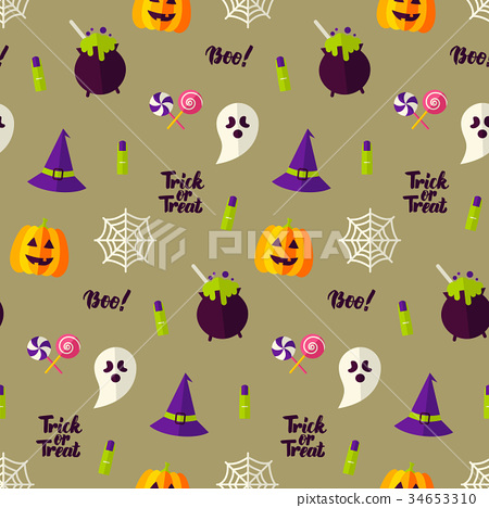 Happy Halloween Seamless Texture 34653310