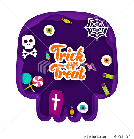 Trick or Treat Papercut Concept 34653354