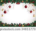 Christmas background with fir branches and bells 34653770