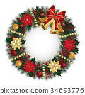 Christmas wreath with bells 34653776