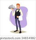Restaurant Waiter Vector. Classic Waiter Takes The 34654982